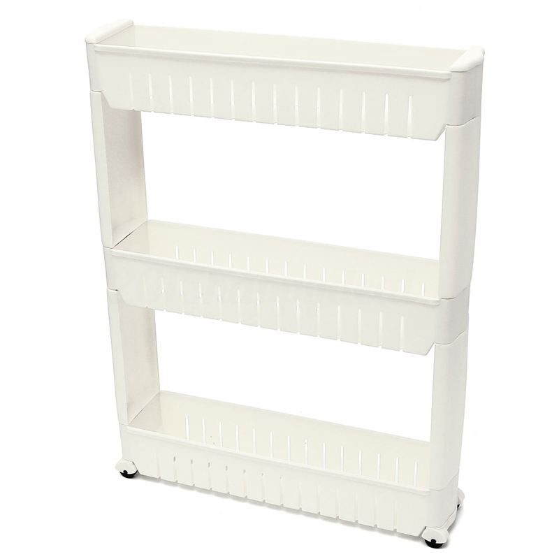 Slim Slide Out Kitchen Trolley Rack Holder Storage Shelf Tower Folding 3 Tire, White