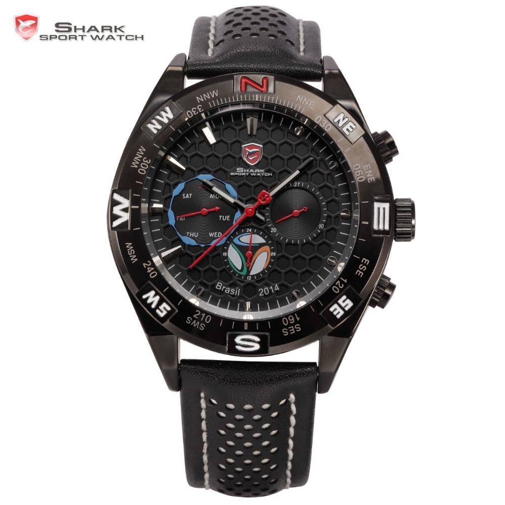 цена на 2014 Bra2il Cup Football Theme Limited Edition Shark Sport Watch 6 Hands Quartz Outdoor Black White Leather Band Men Gift /SH249