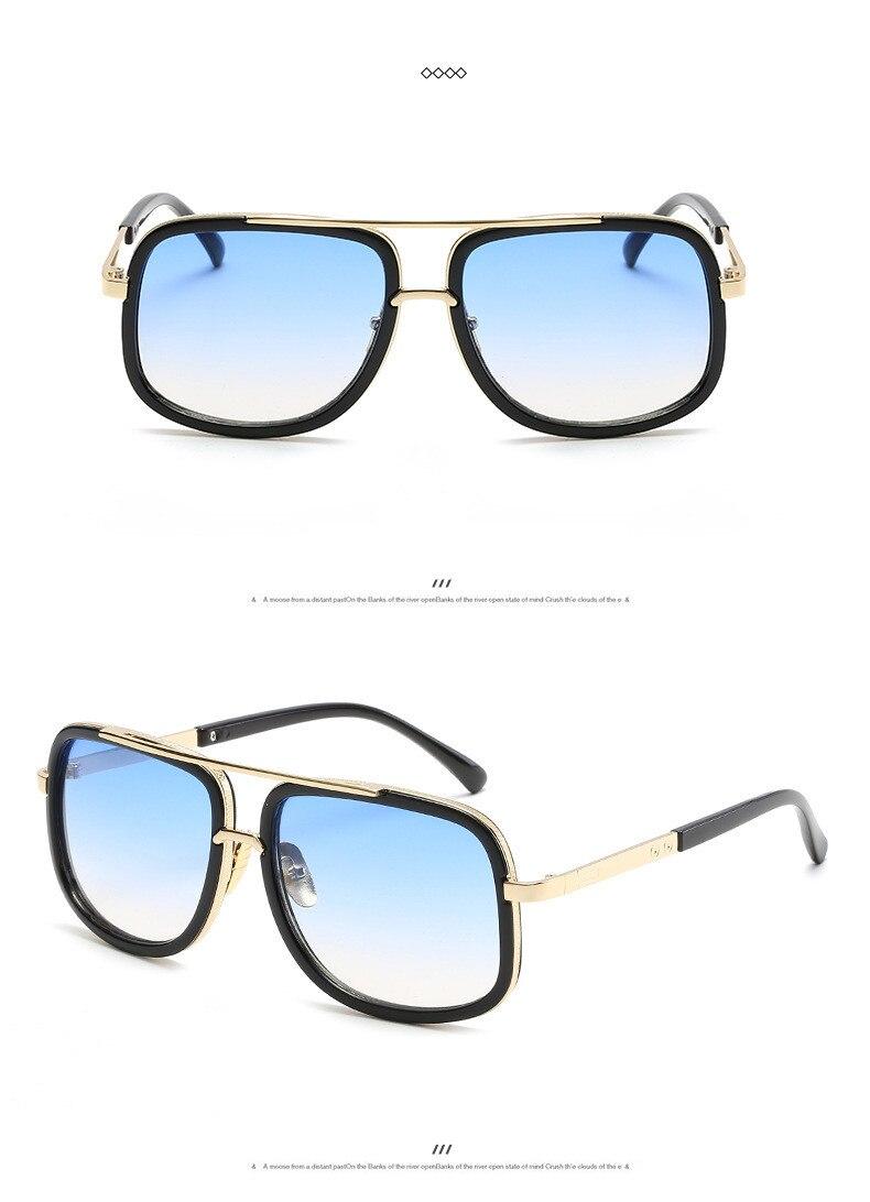 e43a074e1c5 2018 Brand Design Men Sunglasses Vintage Double Bridge Driving Male ...
