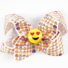 120pcs/lot Emoji Faces Twisted Boutique  Bow or Softball Bow