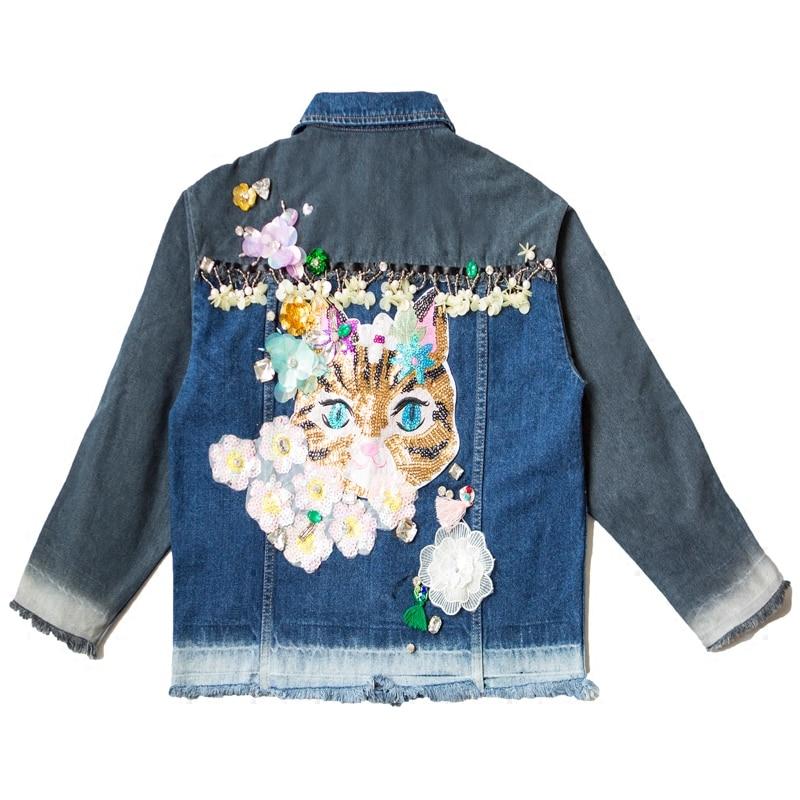 Fumetto Di Floreali Base Cielo Autunno Paillettes Jeans Donna Giacche Giacca Strada Outwear Inverno Casuale Azzurro Cappotto 8Nm0nw