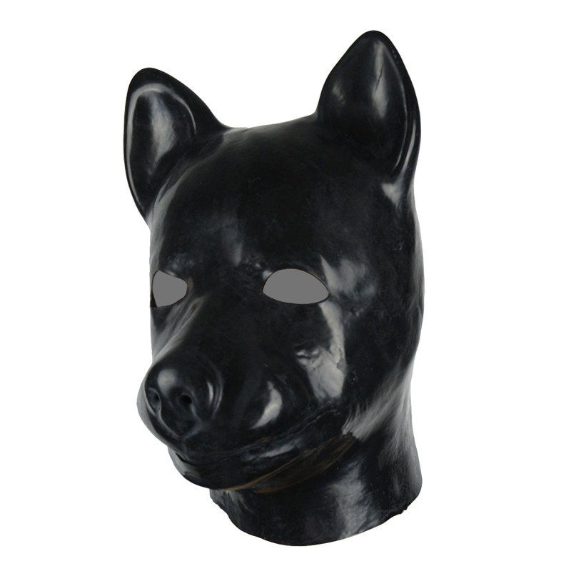 3D mould full head latex dog mask rubber hood unisex fetish latex dog BDSM slave hood