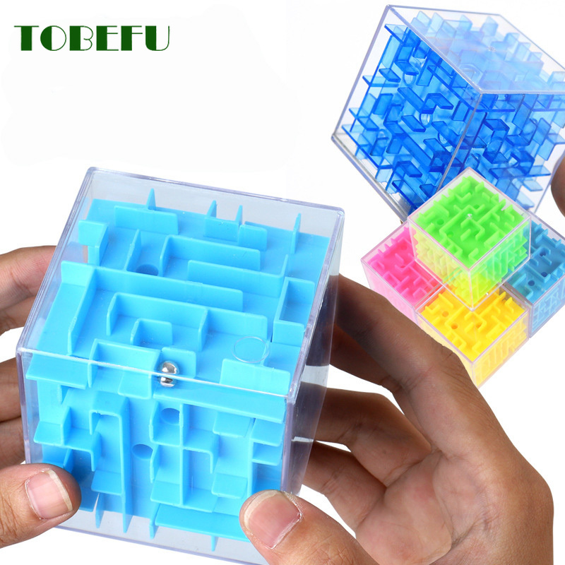 TOBEFU 3D Maze Magic Cube Transparent Six-sided Puzzle Speed Cube Rolling Ball Game Cubos Maze Toys For Children Educational