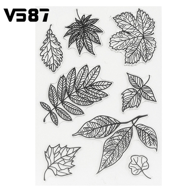 Silicone Stamps Sheet DIY Leaves Transparent Clear for DIY Scrapbooking Card Making Kids Craft Decoration Supplies