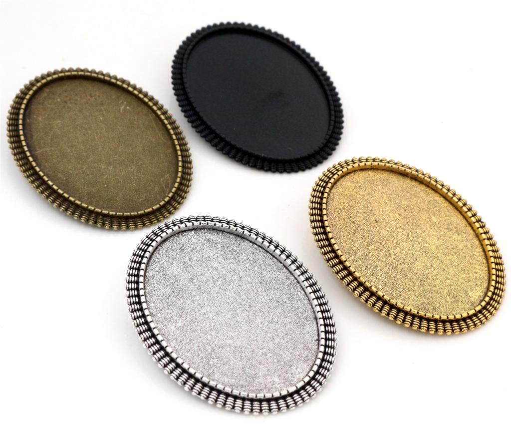 New Fashion  5pcs 30x40mm Inner Size Antique Silver Gold And Bronze And Black Pin Brooch Simple Style Base Setting Pendant