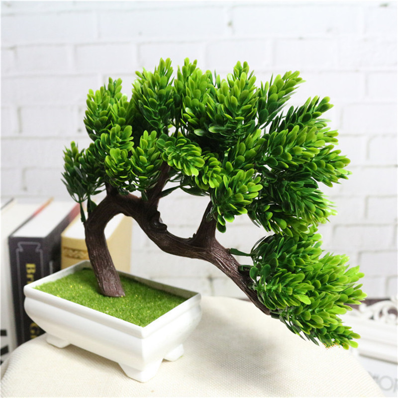 Artificial Decorations Festive & Party Supplies Smart New Ganoderma Tree Lotus Pine Tree Simulation Plant Flower Bonsai Set Small Potted Green Plant Home Decor Table Top Decoration High Quality Materials