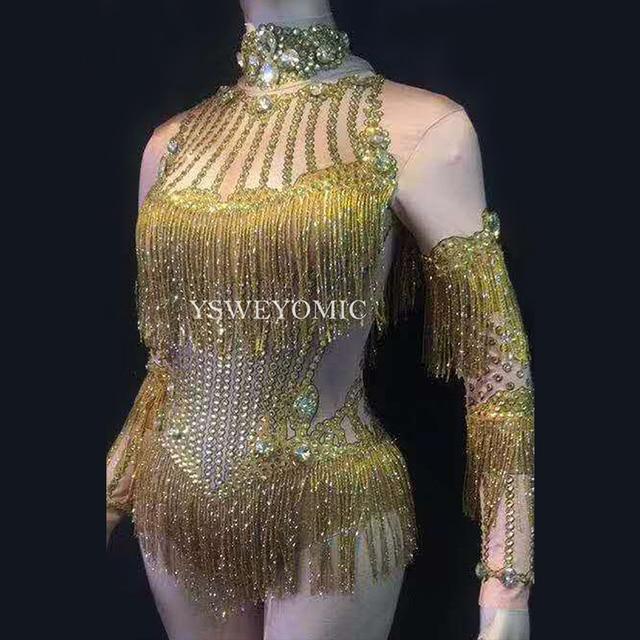 Gold Rhinestones Tassel Spandex Bodysuit Dance Costume Women Birthday Party Rhinestones Stage Outfit Nightclub Dance Wear