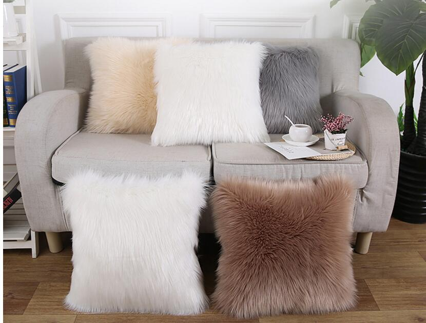 Soft Fluffy Plush Cushion Cover Decorative Warm Pillowcase