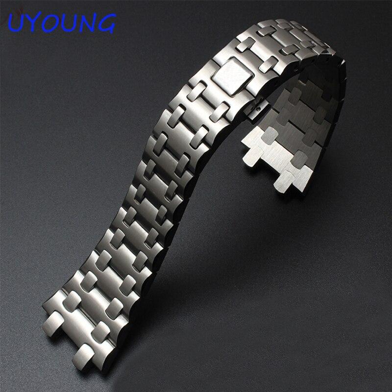 Bracelet de montre en acier inoxydable 316L de qualité 28mm pour boucle en acier fin pour bracelet de remplacement Royal oak15400