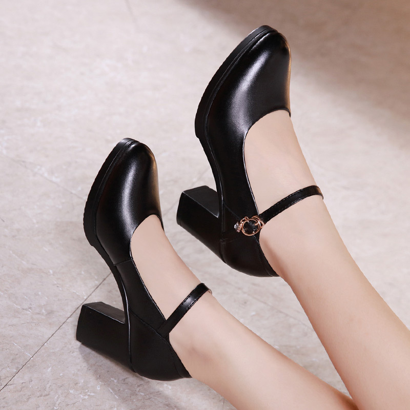 New Fashion Black Mary Janes Shoes Dancing Women's Pumps With High Heels Women Work Shoes Platform Pumps Crystal Buckle Strap