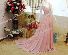 Real Samples V-Neckline Beaded Empire Floor Length Heavy Beaded Two Shoulder Backless Light Pink Chiffon Bridesmaid Dresses