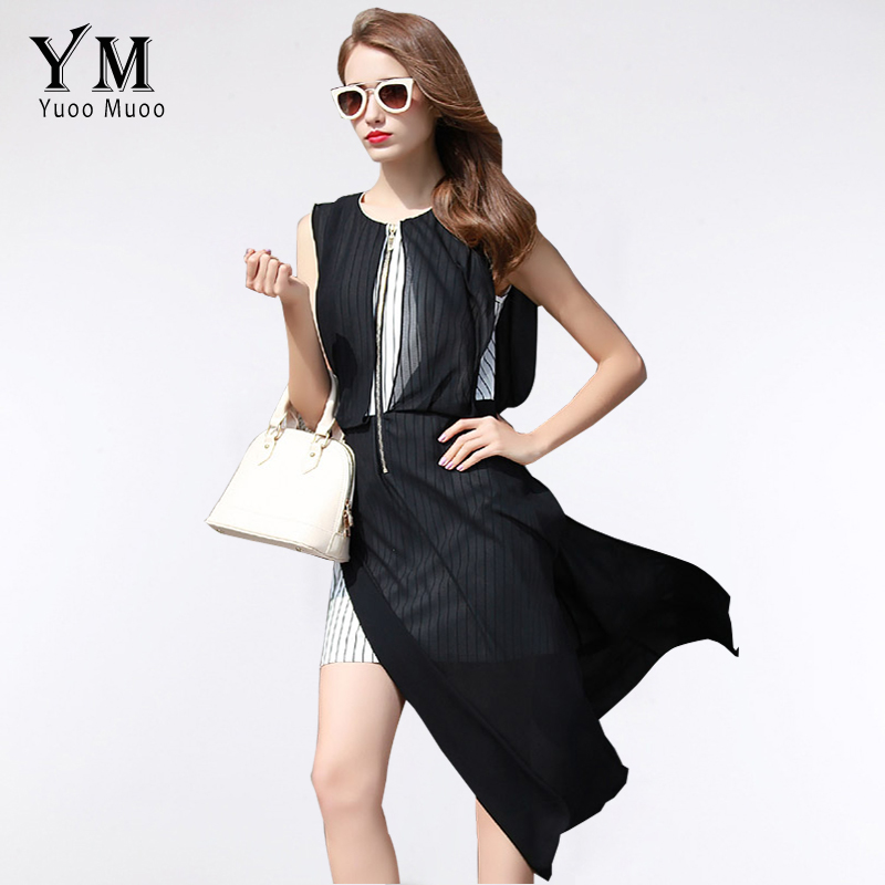 Yuoomuoo Ladies Summer Dress Fake Two Piece Designer