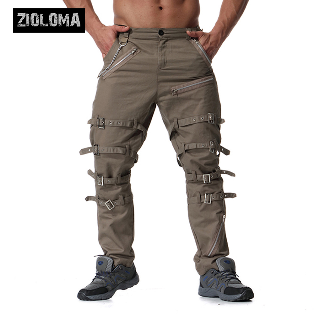 Zioloma Metal Decoration Zippers Cargo Pants Hip Hop Jogger High Street