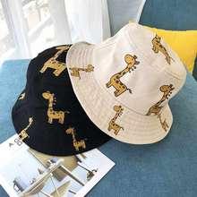 Niños de primavera y otoño sombreros de cubo de dibujos animados jirafa sombrero de Sol para niñas niños al aire libre sombrero de playa Camping pesca gorra sombrero Panamá