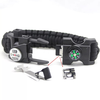 Outdoor Emergency Survival Bracelet SOS LED Light Camping Paracord Rope Multifunctional Survival Tool Whistle Compass Bracelet
