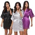 2017 Plus Size Rendas Patchwork Damas de Honra Noiva Robe Sexy Lingerie Kimono Robes Pijamas de Seda Festa de Casamento das Mulheres