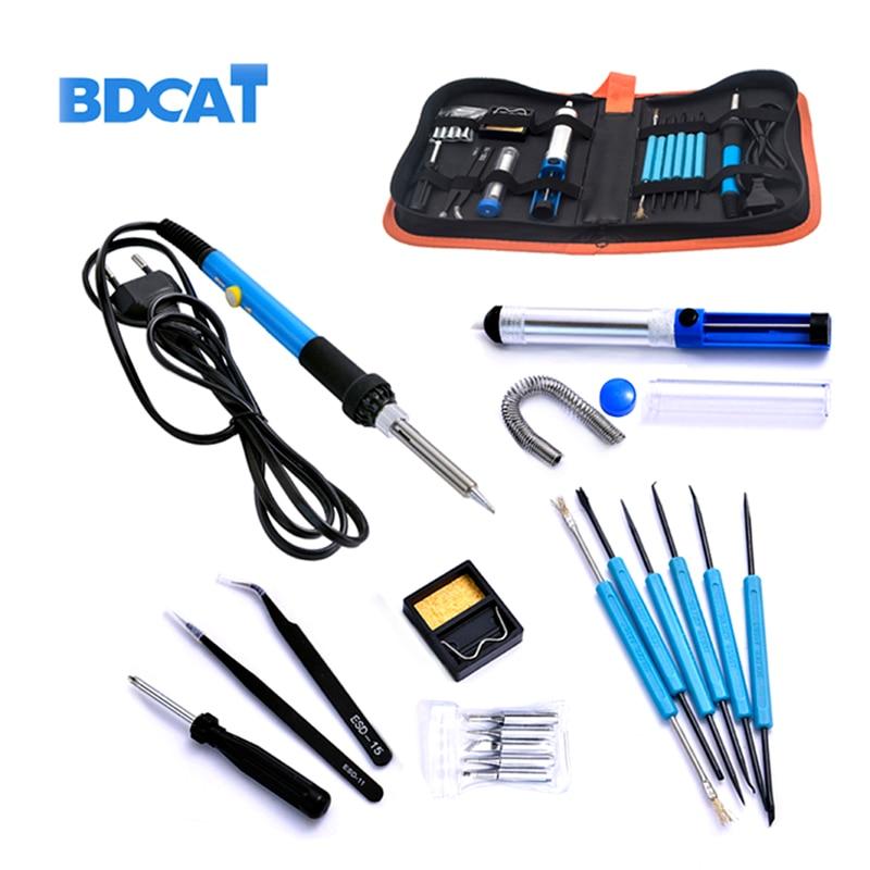 BDCAT 60W 220V Electric Soldering Iron Set Temperature Adjustable Welding Repair Tool Kit with 5 Tips Solder Wire Tweezers Сварка
