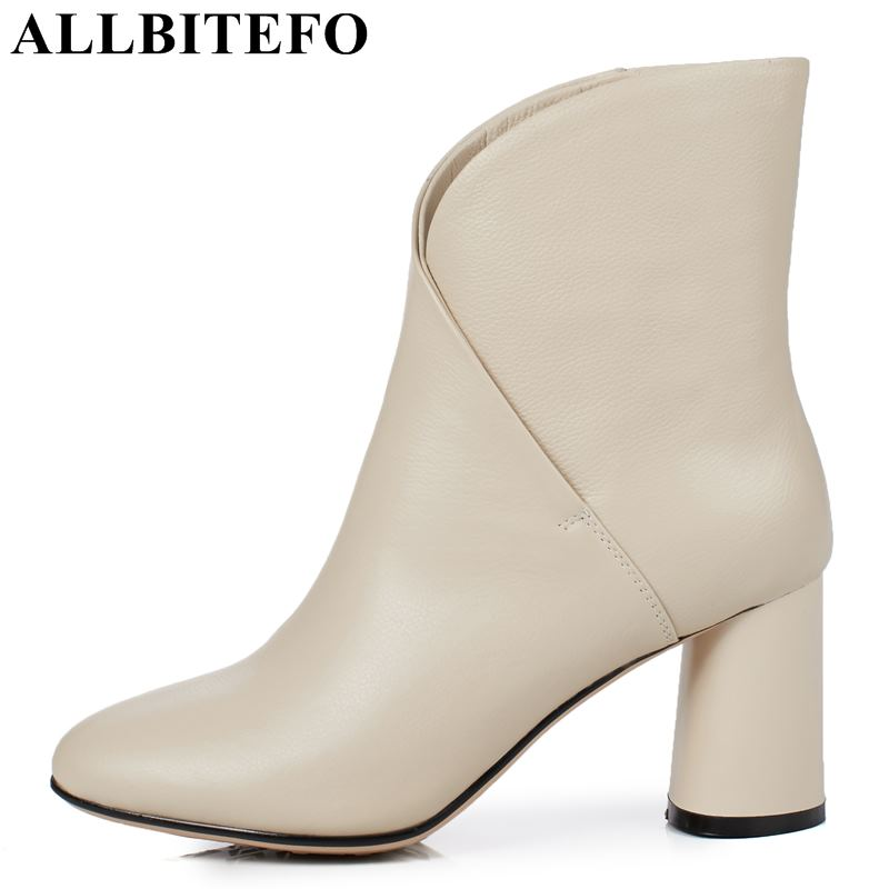 ALLBITEFO large size:33-43 genuine leather high heel women boots high heel shoes winter snow boots girls shoes bota de neve allbitefo large size 33 43 patent leather square toe thick heel women pumps fashion rhinestone high heel shoes girls shoes