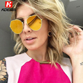 New Eyeline Design Geometric Aviator Sunglasses Women Cut-out Lens Coating Sunglass Pink Gold Sun Glasses For Girl Friend's Gift