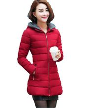 Winter 2016 Latest Fashion Women Coat Thicken Warm Hooded Lady Winter Jacket Slim Big yards Medium Long Cotton Down Jacket G0039