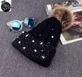2016 Марка зимняя мода cap с ponpon Зимнюю Шапку с Жемчужиной шляпа с бородой двойной pom pom шапочка