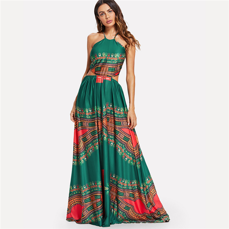 COLROVIE Green Elegant Backless Geometric Ornate Print Cut Out Halter Summer Women Maxi Dress 2018 Sexy High Waist Beach Dress 7