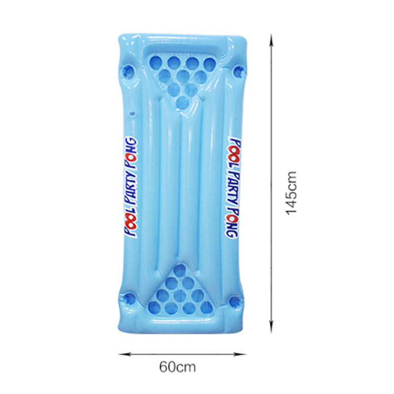 PVC Inflatable Beer Pong Ball Table Water Floating Raft Lounge Pool Drinking Game 24 Cups Holder 3