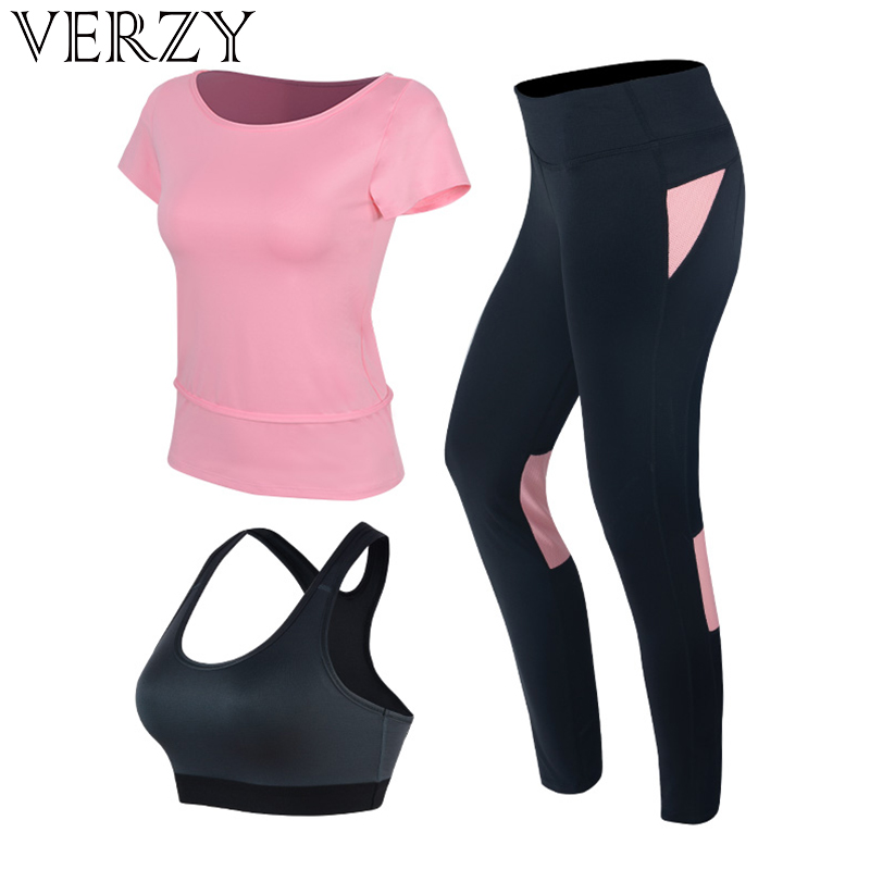 Sportswear For Fitness Women's Yoga Set Sports Suit T-shirt+Pants+Bra 3 Piece Set Running Leggings Women Tight Suit Gym Clothing lyseacia breathable sport suit women fitness suit yoga bra long sleeeve hoodies running yoga t shirt sports leggings sportswear