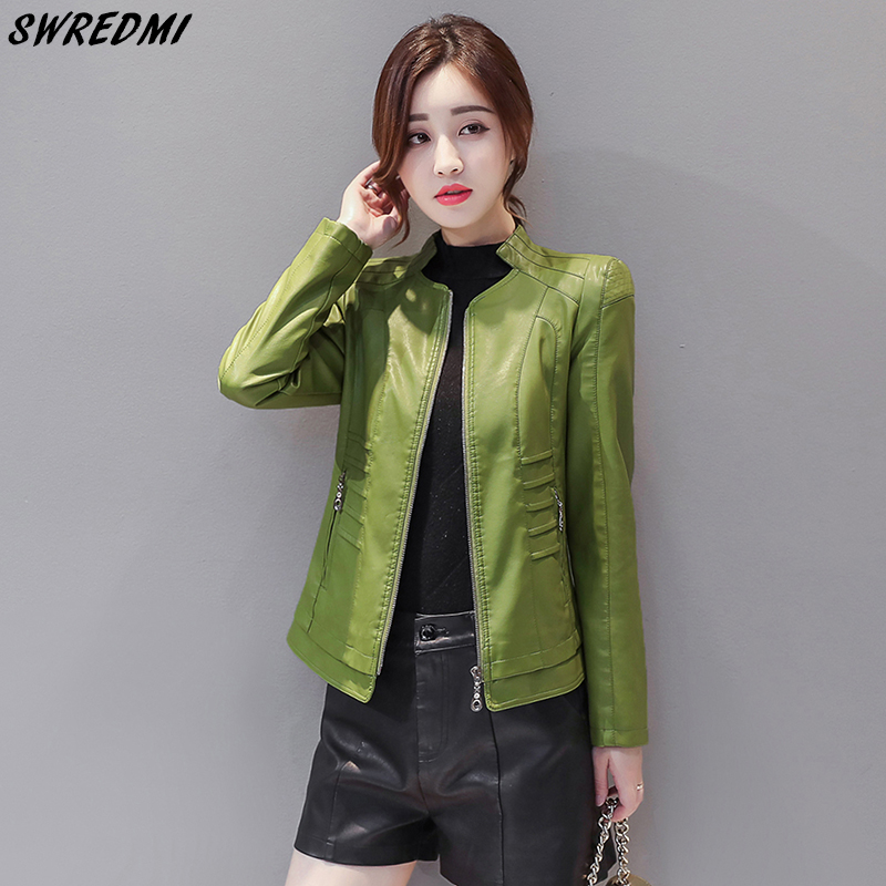 SWREDMI Women Green   Leather   Jacket Short Office Lady   Leather   Coat Outerwear Slim Fashion Female Clothing Jaqueta Feminina   Suede