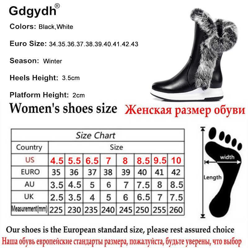 Gdgydh Hayvan Kürk Kadın Kar Botları Düz Topuklu 2019 Yeni Kış pamuklu ayakkabılar Kadın Fermuarlı Siyah Beyaz Kalın Peluş Yuvarlak ayak