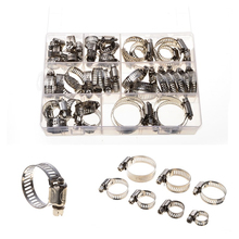 50Pcs/set Stainless Steel Drive Hose Clamp Tri Clamp Adjustable Fuel Line Pipe Worm Gear Clip Clamp Tube Fastener Spring Clip 60pcs adjustable 8 38mm range stainless steel fuel line pipe worm gear drive hose hoop pipes clamps assortment kit spring clip