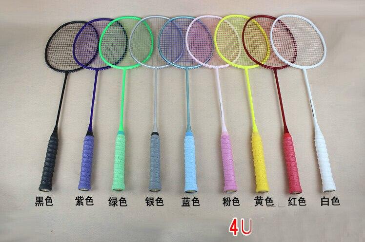 1 pc livraison gratuite OEM 4U 82g 9 couleurs raquette de Badminton 100% fibre de carbone raquette de Badminton