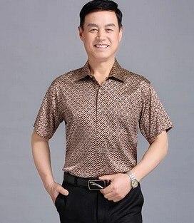 Mulberry silk shirts with short sleeves stretch satin blockbuster 2019 men's silk shirt