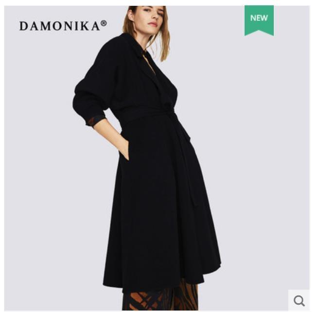 Double cashmere winter coat for women 2018 new belt black woolen overcoat for women in the