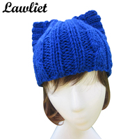 A004 Blue Cute Cat Ear Meow Kitty Woman Wool Winter Hand Knit Cap Beanie Hat