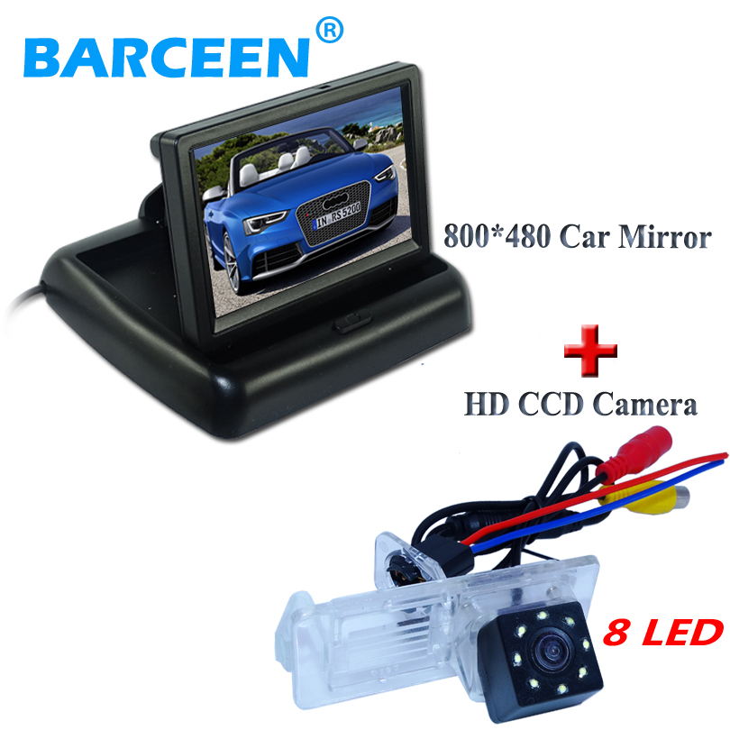 plastic 8 led car rear camera +car monitor 4.3