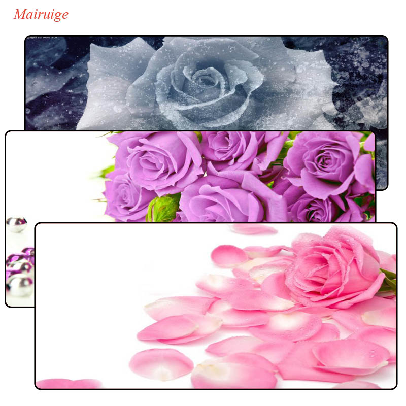 Mairuige FLOWERs mousepad laptop notbook computer gaming Speed Large mouse pad gamer play mats With White Lock Edge For CS DOTA