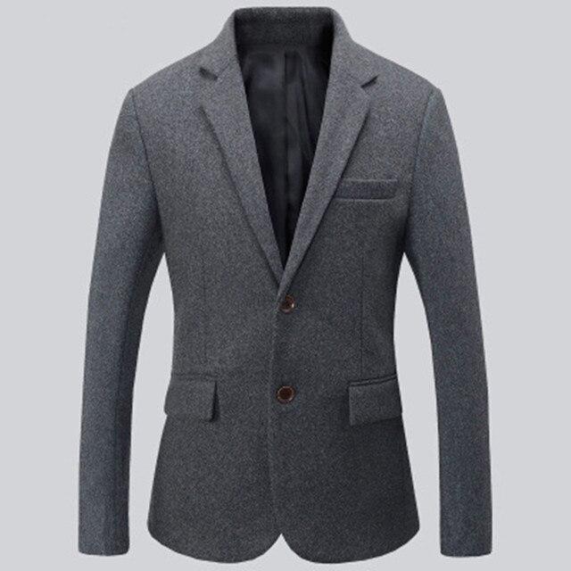 Черный и серый мужские костюмы куртка шерсть смешанное формальные деловые костюмы куртки две кнопки согреться жених платье куртка