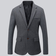 Black and grey men suits jacket wool blended formal business suits jacket two button keep warm groom dress jacket