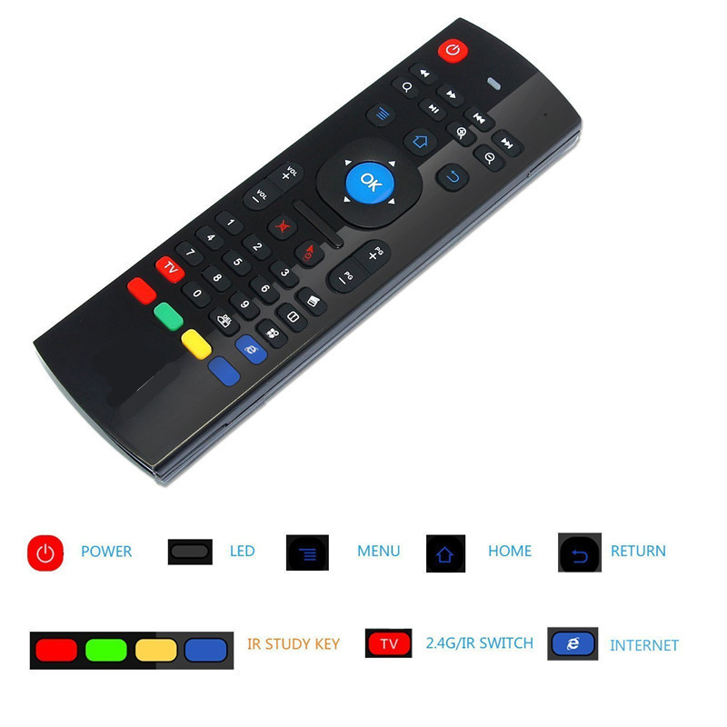 MX3 2.4GHz Wireless Remote Control Fly Air Mouse Wireless Qwerty Keyboard for Smart TV Android TV box Android 7.1 X96 mini tvbox fly e135 grey tv