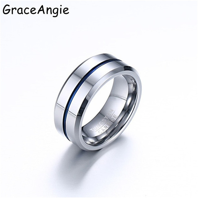 Graceangie 100 Fashion Man Black Silver Tungsten Steel Ring Wedding Bands 8mm Carbide Rings