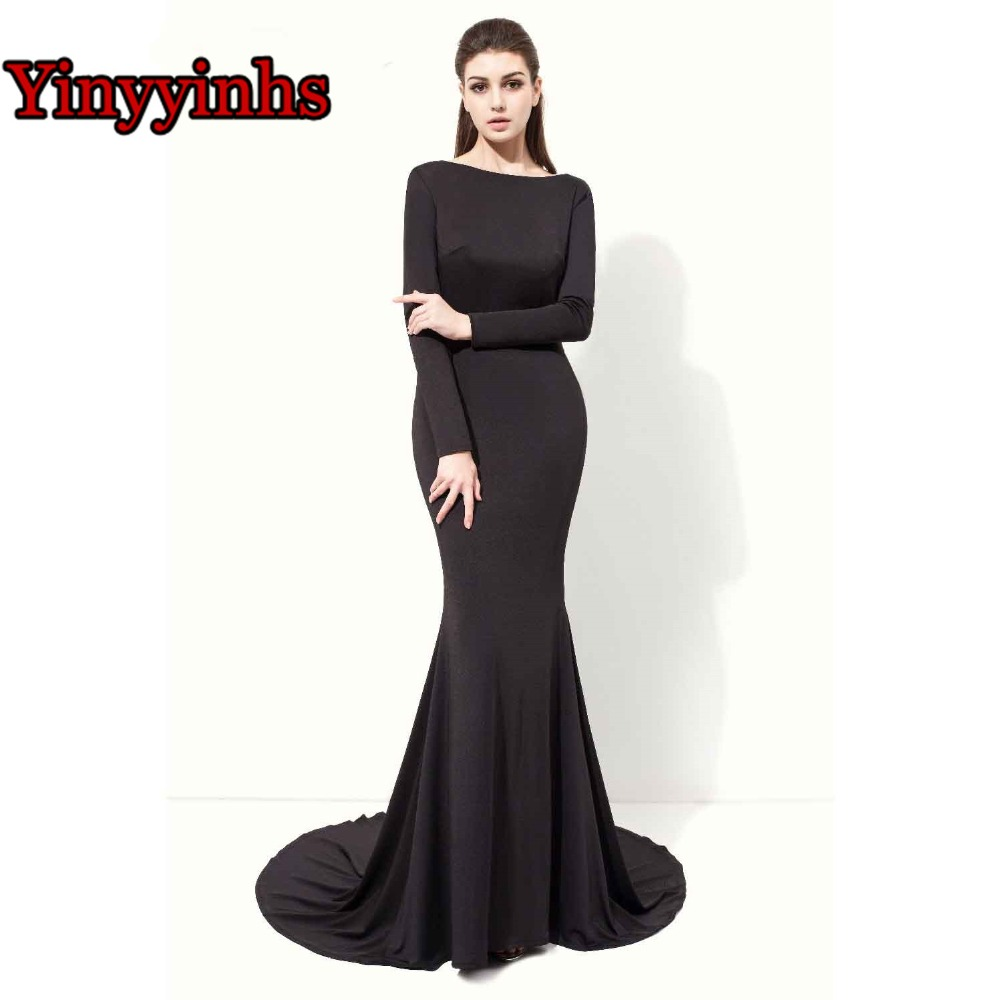 Yinyyinhs manches longues noir Spandex transparent dos femmes robe de soirée formelle robe de bal de promo avec Court Train CG31