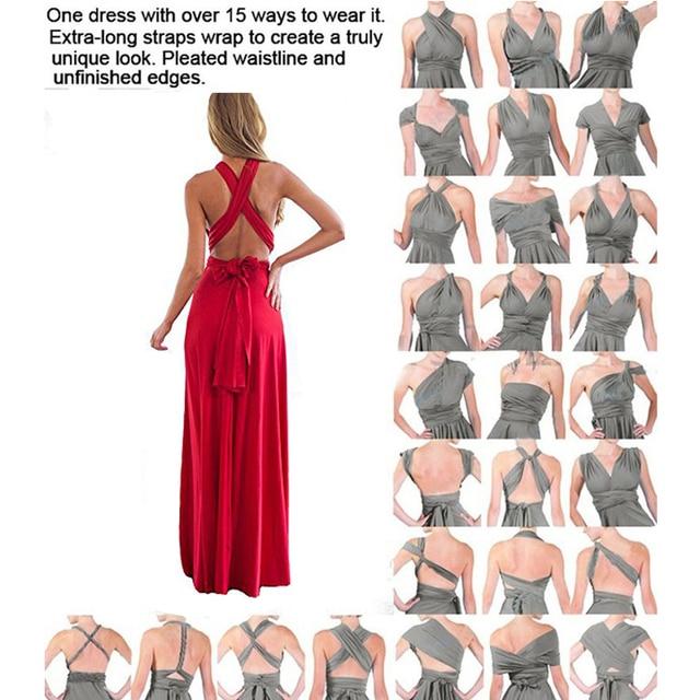 Sexy Women Multiway Wrap Convertible Boho Maxi Club Red Dress Bandage Long Dress Party Bridesmaids Infinity Robe Longue Femme 5
