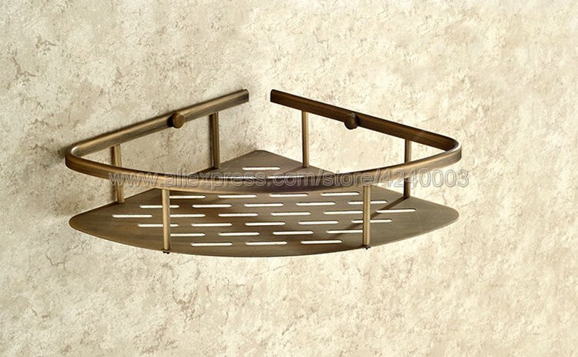 Bathroom Shelves Antique Brass Shower Corner Shelf Wall Mount Shampoo Storage Shelf Rack Bathroom Basket Holder Kba520 bathroom shelves stainless steel wall mount shower corner shelf shampoo storage basket modern home accessories holder wf 18067