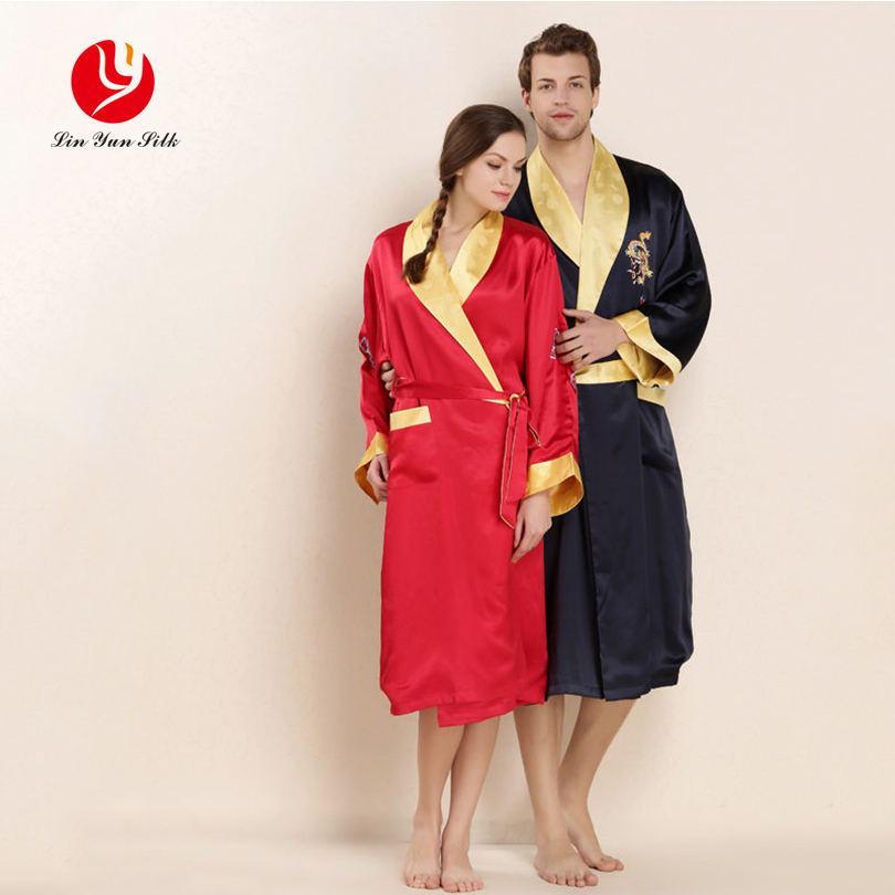 LIN YUN Real Silk Couple Robes Women & Men Sleepwear Comfortable Summer Nightgowns Coupl ...