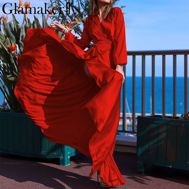 Glamaker red satin v-neck high split party dress Women sexy sashes elegant  boho long dress Casual club holiday beach summerdress