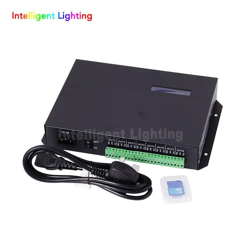 T-200K en ligne Led Pixel DMX contrôleur programme par PC pour WS2812 WS2811 1809 6803 WS2801 Pixels bande 8ports * 512 pixels