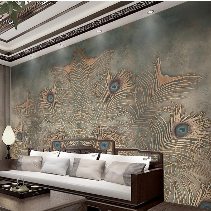 beibehang papel parede Custom wallpaper Chinese Peacock Feather TV Wall wall papers home decor papel de parede 3d tapety behan in Wallpapers from Home Improvement