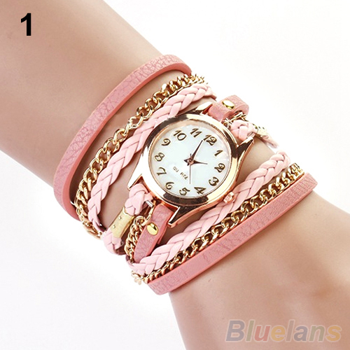 2014 New FAshion Hot Colorful  Vintage  women watches  Weave Wrap Rivet Leather Bracelet wristwatches watch 0WC4 C2K5W