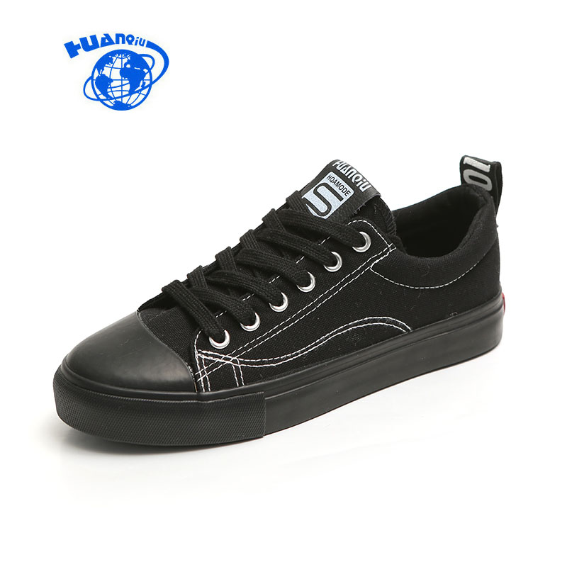 HUANQIU 2018 New Women Chic Shoes Black Sneakers Lace Up Ulzzang Shoes Preppy Style White Shoes for Female Low Tops Size 35-39 glowing sneakers usb charging shoes lights up colorful led kids luminous sneakers glowing sneakers black led shoes for boys